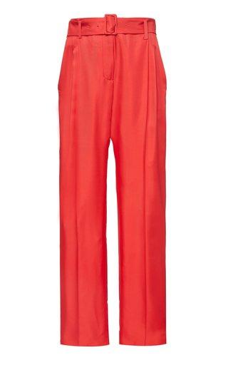 Belted Silk-Satin Straight-Leg Pants