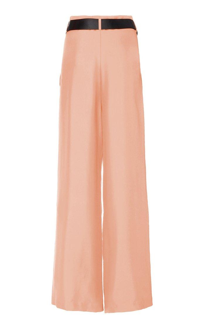 Belted Silk-Satin Wide-Leg Pants