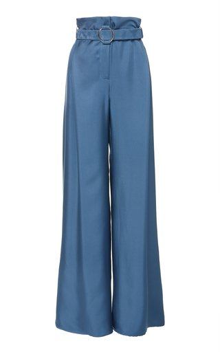 Belted Silk-Satin Wide-Leg Pants