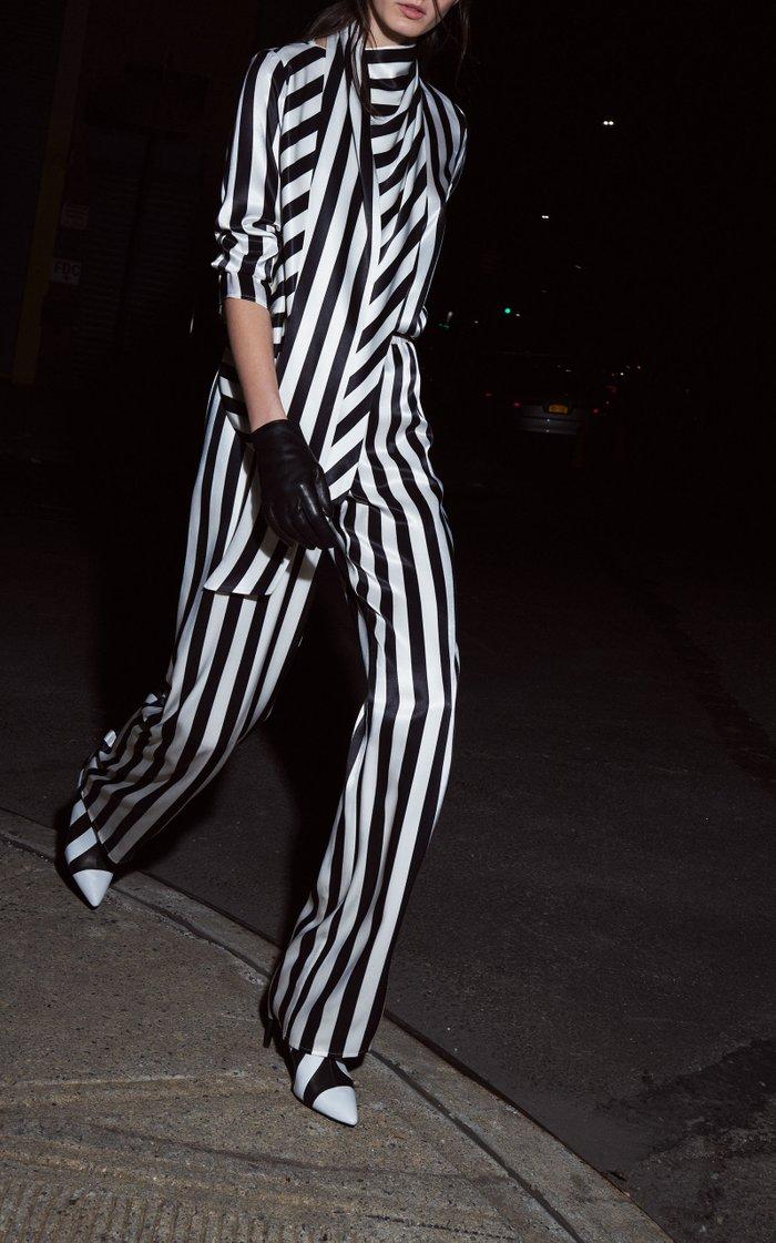 Striped Satin  Elastic Waist Wide Leg Pant