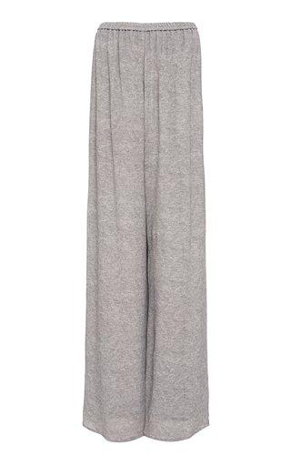 Mélange Printed Viscose Wide-Leg Pants