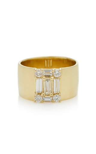 Clarity Yellow-Gold and Diamond Cigar Band Ring
