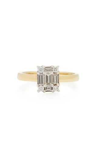 Clarity Cube Yellow-Gold and Diamond Ring