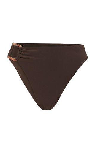 Tortoiseshell-Detailed High-Rise Bikini Bottom
