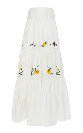 Adrina Tiered Floral-Embroidered Cotton-Silk Maxi Skirt
