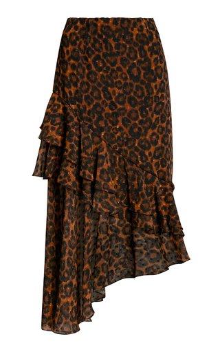 Antoinette Leopard-Print Fil Coupé Chiffon Midi Skirt