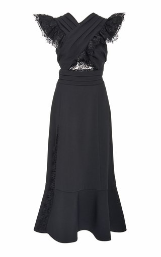 Ruffled Lace-Trimmed Crepe Dress
