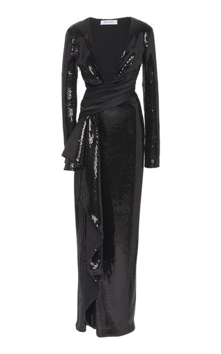 Cascade Wrap-Waist Sequined Gown