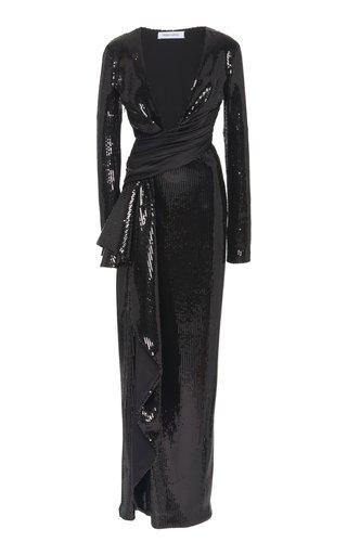 Cascade Wrap-Waist Sequined Gown