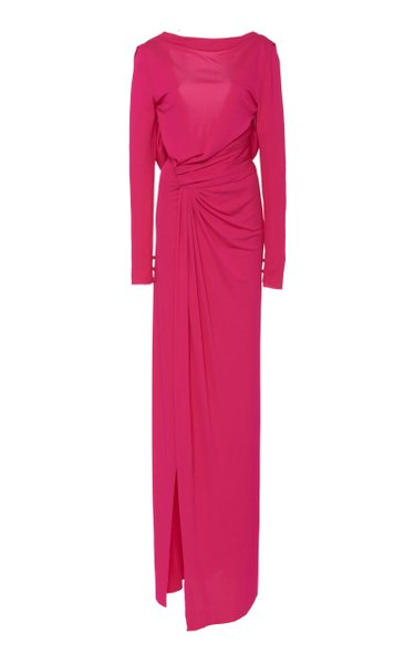 Draped Jersey Thigh-Slit Gown