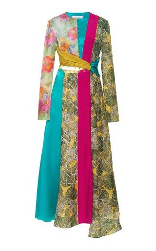 Taxila Cut-Out Linen-Blend Midi Dress