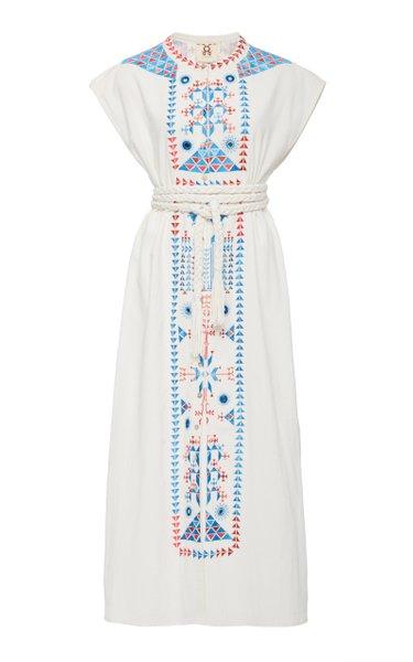 Kari Embroidered Cotton Midi Dress