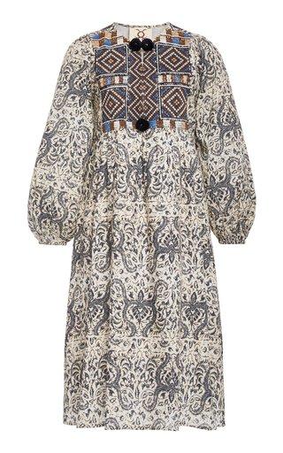 Lucie Pom-Pom Cotton Midi Dress