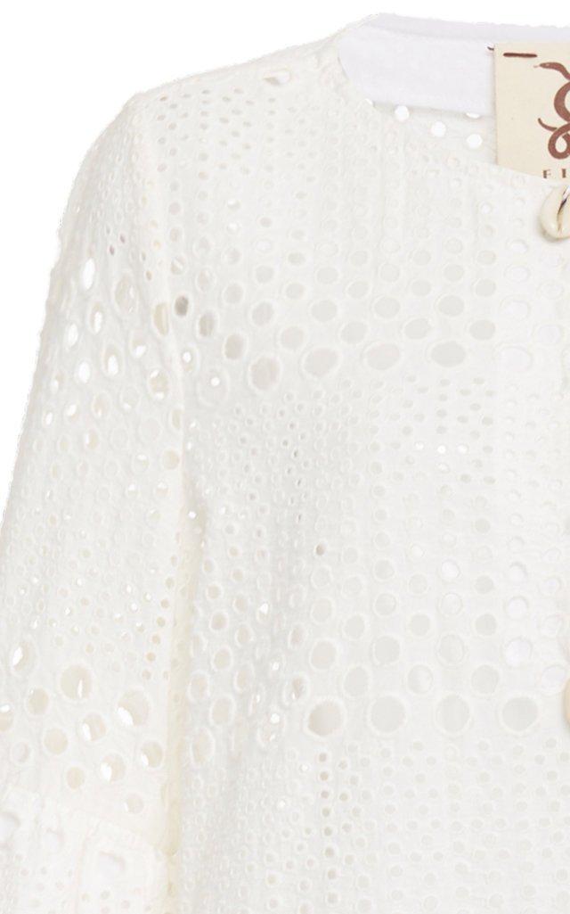 Reina Ruffled Cotton Eyelet Top