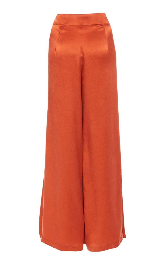 Raphaelle Pleated Silk Wide-Leg Pants