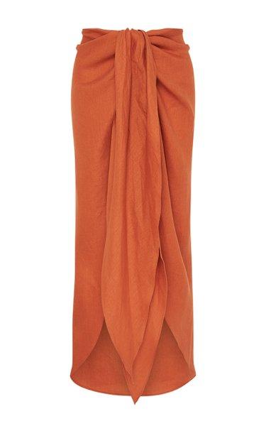 Draped Linen Twill Midi Skirt