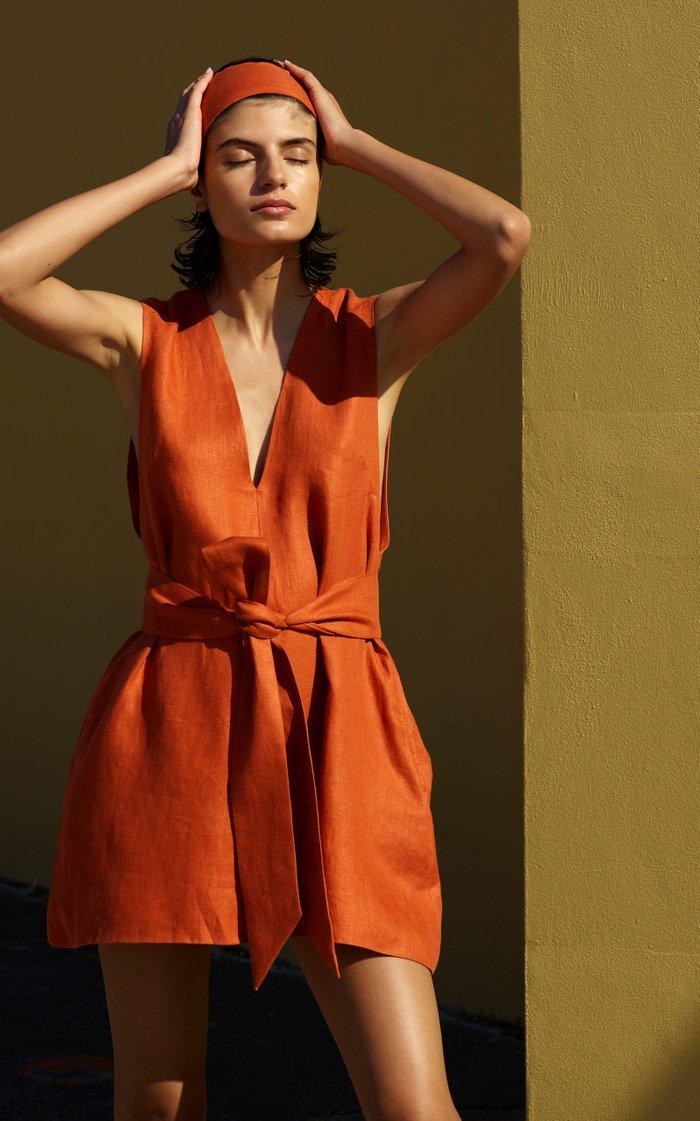 Belted Linen-Twill Mini Dress