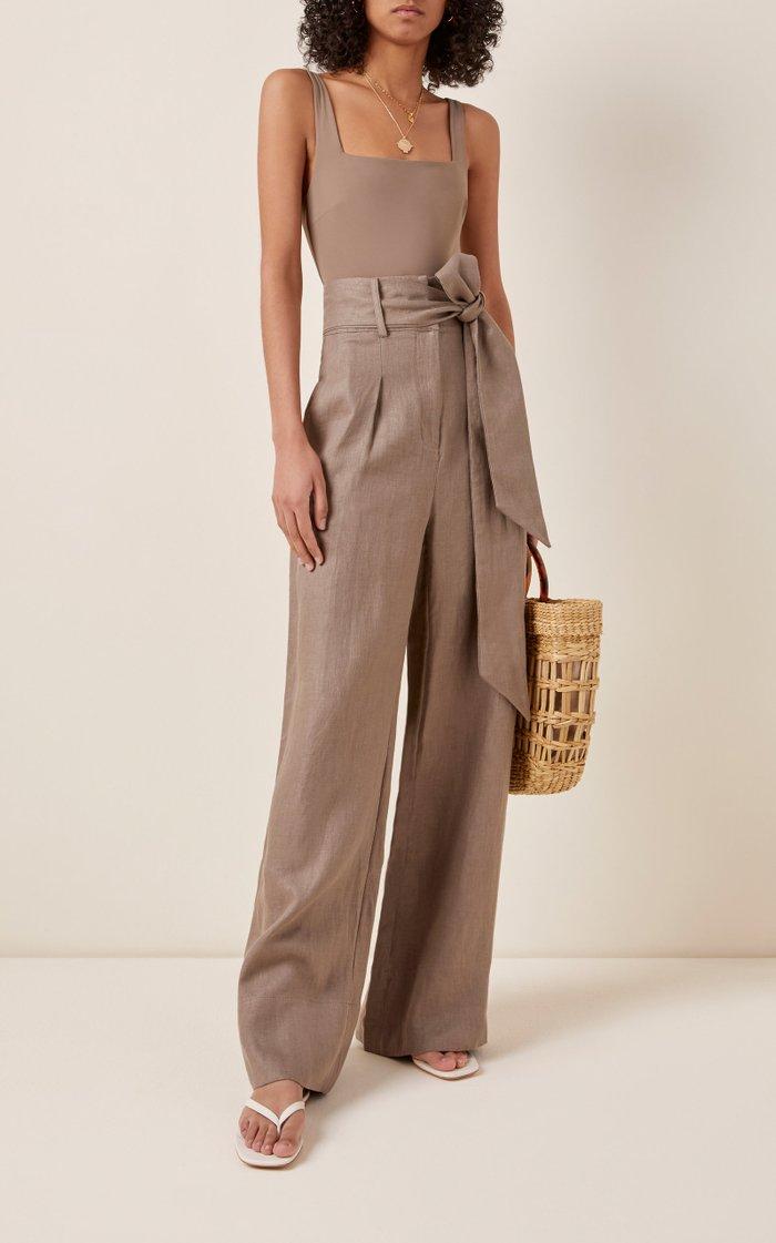 Fancy Belted Linen Wide-Leg Pants