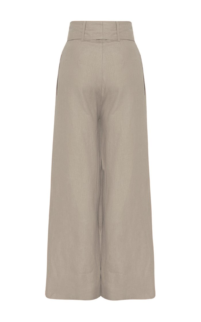Fancy Belted Linen Wide-Leg Pants