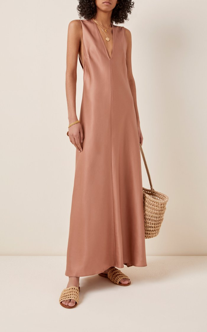 Fluid Sateen Maxi Dress