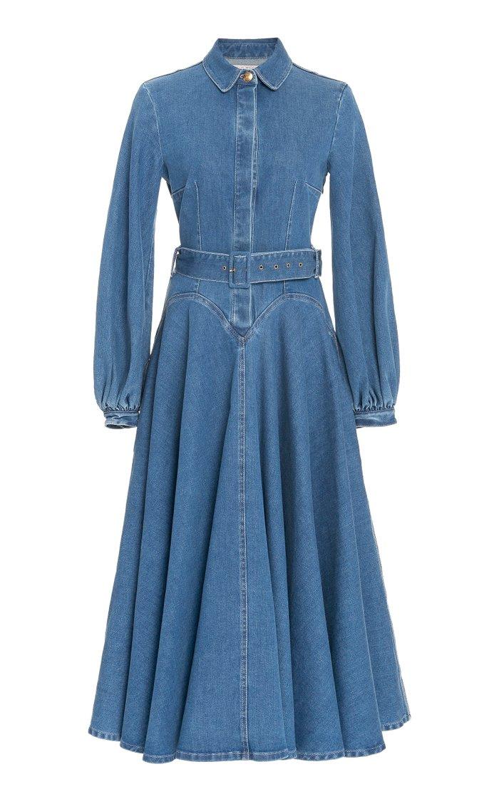 Jewel Puffed Sleeve Denim Dress