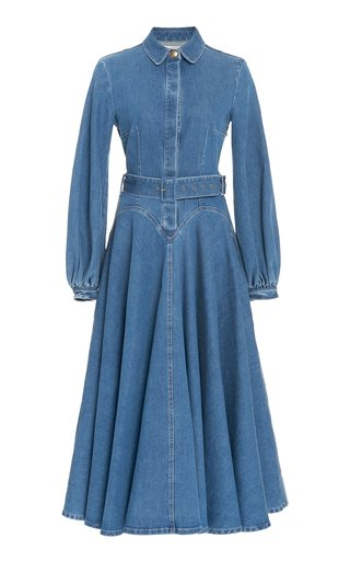 Jewel Puffed Sleeve Denim Dress