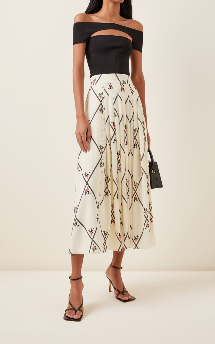 Scottie Pleated Silk Skirt