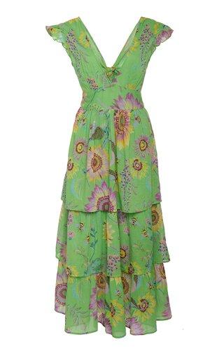 Sierra Floral-Print Cotton V-Neck Dress