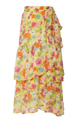 Frances Floral-Print Cotton Wrap Skirt