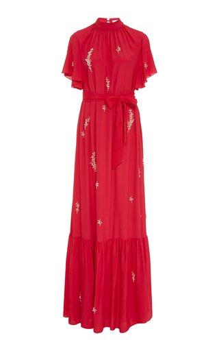 Ciella Belted Embellished Crepe Gown