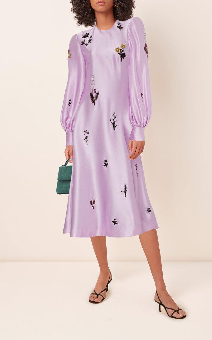 Annetta Embellished Silk-Satin Midi Dress