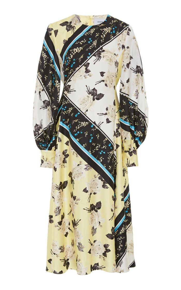 Annetta Printed Silk Crepe Midi Dress