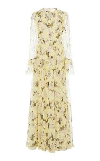 Alvaro Tiered Floral-Print Silk Voile Gown