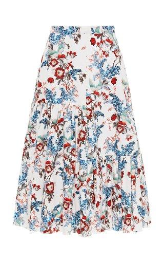 Gaura Printed Cotton-Poplin Maxi Skirt
