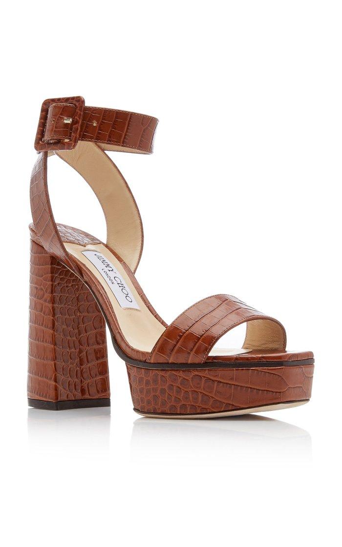 Jax Croc-Effect Platform Sandals
