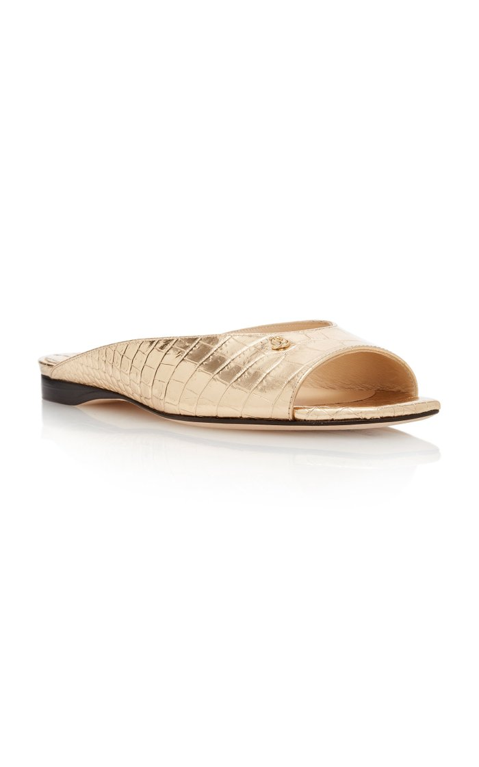 Jynx Metallic Croc-Effect Leather Sandals