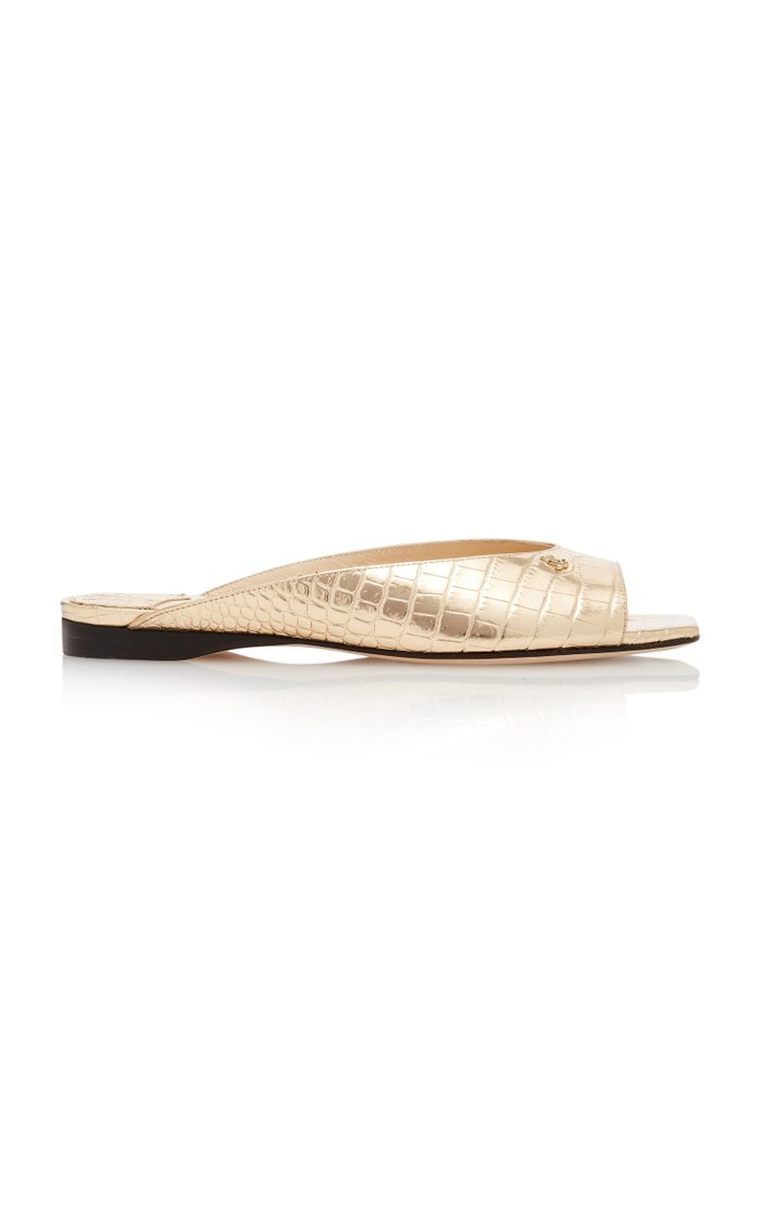 Jynx Metallic Croc-Effect Leather Sandals