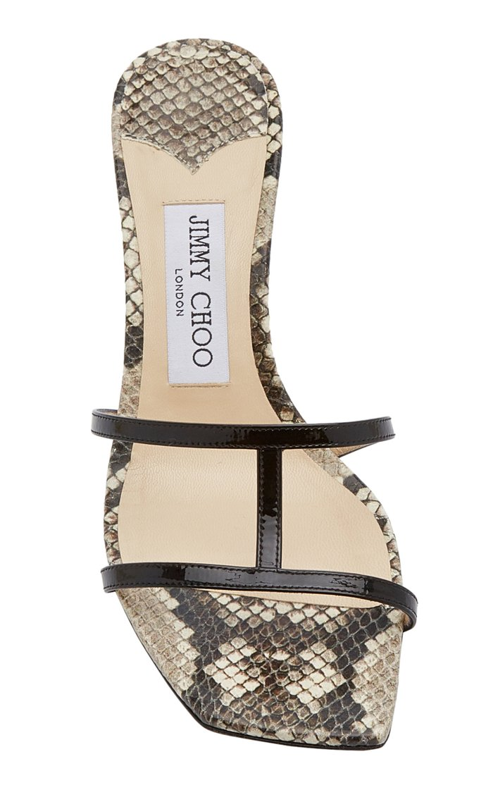 Ria Snake-Effect Leather Slide Sandals