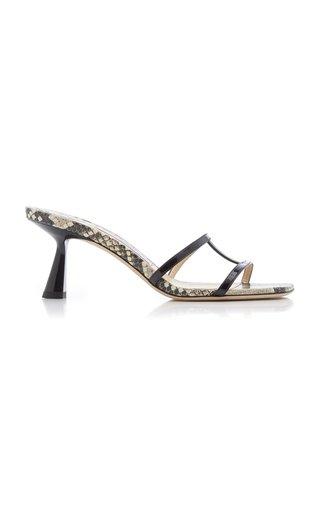 Ria Snake-Effect Leather Slide Sandals