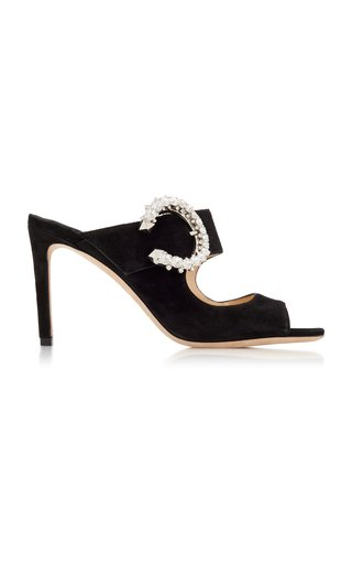 Saf Crystal-Embellished Velvet Sandals