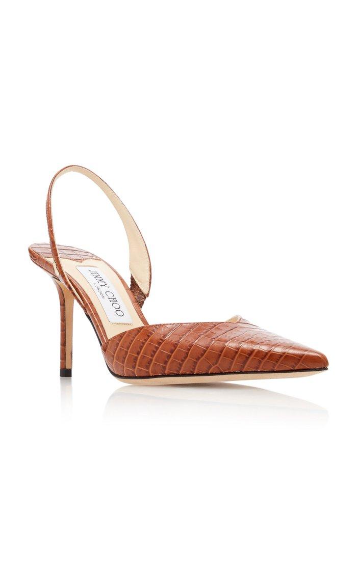 Thandi Croc-Effect Leather Slingback Pumps