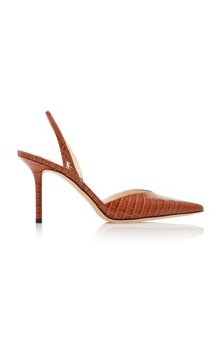 Thandi Croc-Effect Leather Slingback Pumps