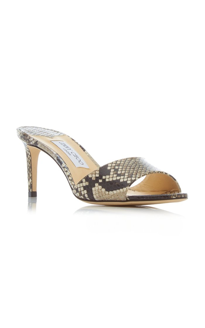 Stacey Snake-Effect Leather Slide Sandals