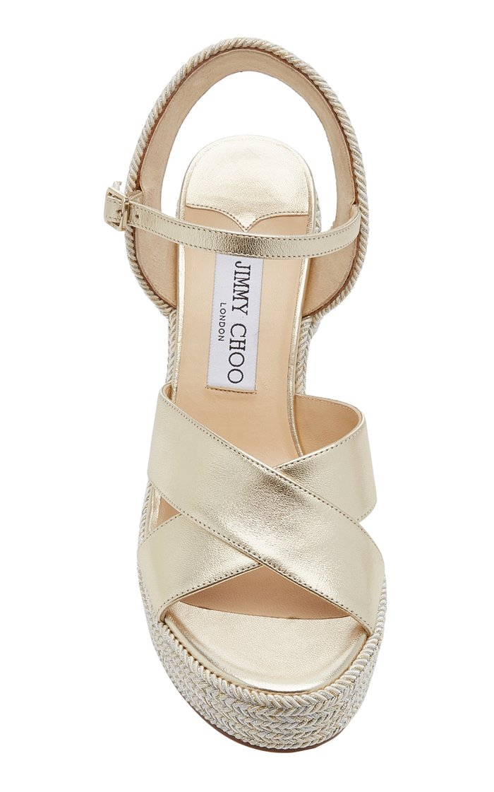 Dellena Metallic Leather Wedge Sandals