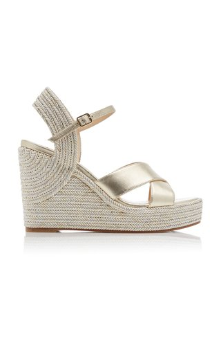 Dellena Metallic Leather Wedge Sandals