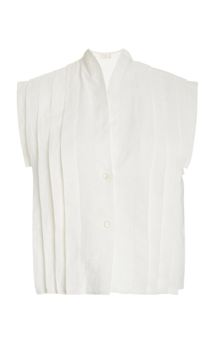 Marie Pleated Linen Top
