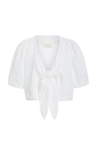 Exclusive Agatha Tie-Front Linen Crop Top