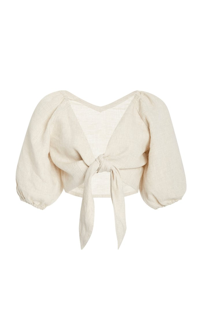 Mia Knot-Detailed Linen Cropped Top