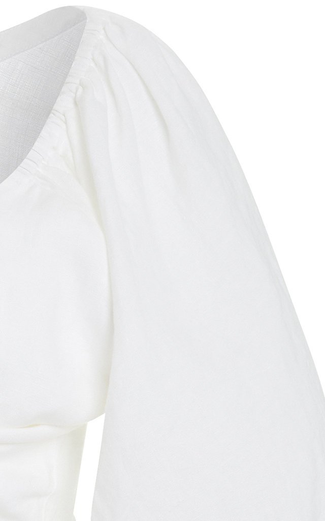 Exclusive Mia Knot-Detailed Linen Cropped Top