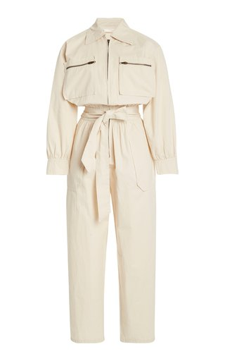 Exclusive Belted Cropped Cotton-Twill Jumpsuit